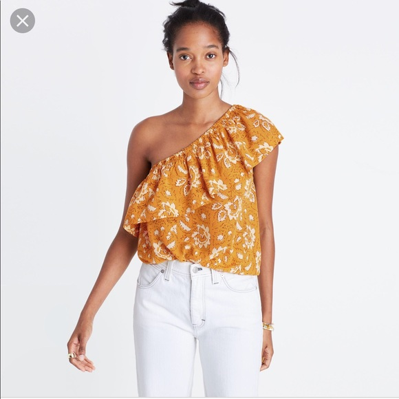 d8ee27ae4566 Madewell Tops | Yellow Floral Off Shoulder Top | Poshmark
